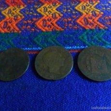 Monedas de España: LOTE 3 MONEDAS MONEDA DE 10 DIEZ CÉNTIMOS DE COBRE DE ALFONSO XII. 1878. . Lote 56634911