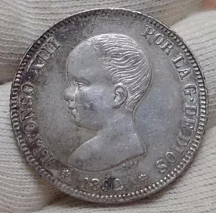 Monedas de España: ESCASAS 2 PESETAS 1892 (*18*92). ALFONSO XIII. EBC - Foto 10 - 57218709