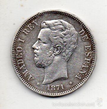 AMADEO I. 5 PESETAS. AÑO 1871. *18 *71. PLATA. (Numismática - España Modernas y Contemporáneas - De Isabel II (1.834) a Alfonso XIII (1.931))