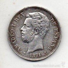 Monedas de España: AMADEO I. 5 PESETAS. AÑO 1871. *18 *71. PLATA.. Lote 57955378