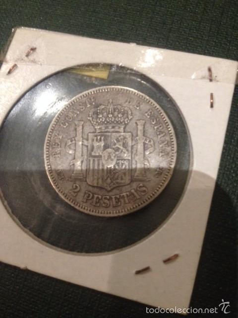 Monedas de España: moneda 2 pesetas plata 1879 alfonso XII - Foto 2 - 57979965