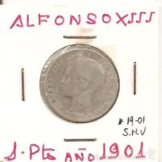 Monedas de España: CADA VEZ MÁS ESCASA MONEDA DE COLECCIÓN 1 PESETA ALFONSO XIII 1901(*19-01) MADRID SMV 5GR.PLATA. MBC. Lote 95611583