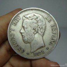 Monedas de España: 5 PESETAS. PLATA. AMADEO. 1871 - SDM *18 *71. Lote 58178012