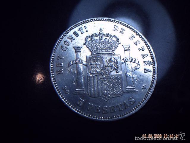 Monedas de España: BUSCADA MONEDA PLATA P.G.V. CINCO PESETAS ALFONSO XIII. 1893. EXCELENTE. ESCASAS . - Foto 2 - 58208545