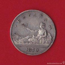 Monedas de España: GOBIERNO PROVISIONAL.5 PESETAS PLATA 1870 *18*70 SN-M . Lote 58813746