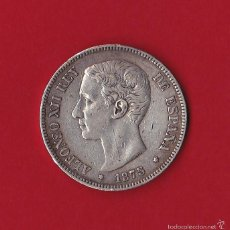Monedas de España: 5 PESETAS 1875 ALFONSO XII, DE - M, 1875/75, VF. Lote 58999545