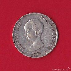Monedas de España: 5 PESETAS 1890 ALFONSO XIII, PG - M, 1890/90, VF. Lote 59138625