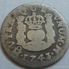 Monedas de España: MONEDA DE PLATA DE 1/2, MEDIO REAL TIPO COLUMNARIO DE FELIPE V DE 1743 CECA DE MEXICO, ESCASA. Lote 59946867