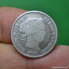 Monedas de España: ! RARA SOBREFECHA ¡ - 4 REALES ISABEL II 1861 / 51 - BARCELONA - PLATA. Lote 60576543