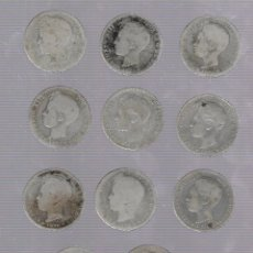 Monedas de España: LOTE DE 11 MONEDAS. 1 PESETA. ALFONSO XIII. 1896. VER IMAGENES. Lote 60982211