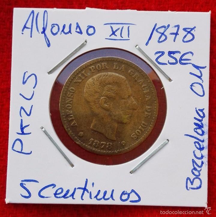MONEDA DE ALFONSO XII - AÑO 1878 - 5 CENTIMOS - BARCELONA OM (Numismática - España Modernas y Contemporáneas - De Isabel II (1.834) a Alfonso XIII (1.931))
