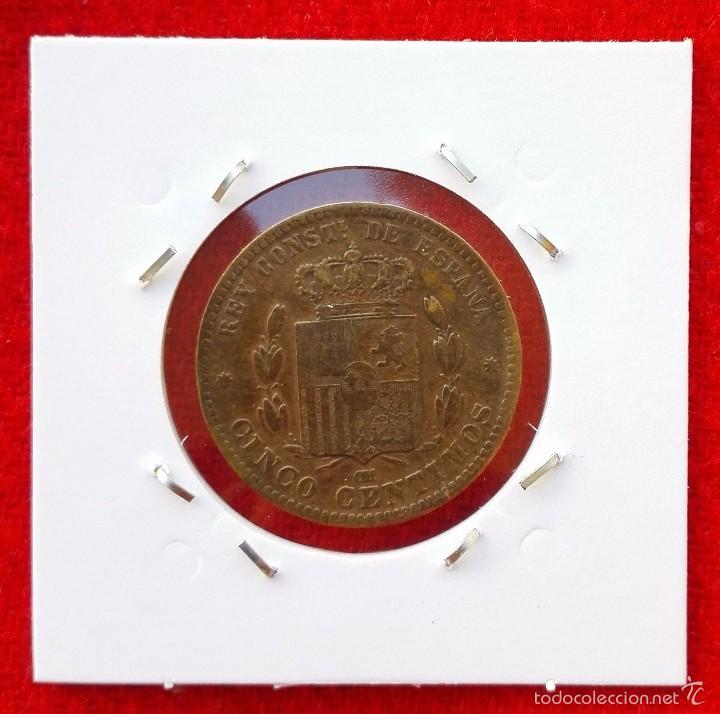 Monedas de España: MONEDA DE ALFONSO XII - AÑO 1878 - 5 CENTIMOS - BARCELONA OM - Foto 2 - 61008831