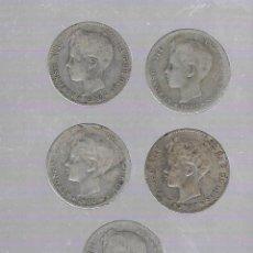 Monedas de España: LOTE DE 5 MONEDAS. 1 PESETA. 1900. ALFONSO XIII. VER FOTOS. Lote 61247471