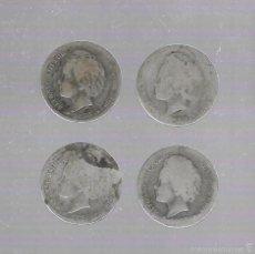 Monedas de España: LOTE DE 4 MONEDAS. 1 PESETAS. 1893. ALFONSO XIII. VER IMAGENES. Lote 61313475