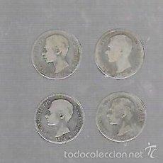 Monedas de España: LOTE DE 4 MONEDAS. 1 PESETAS. 1876. ALFONSO XII. VER IMAGENES. Lote 61314227