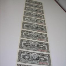 Monedas de España: TIRA DE BILLETES DE 20 CENTAVOS DEL BANCO ESPAÑOL DE LA ISLA DE CUBA. SIN CIRCULAR. AÑO 1.897. Lote 62188468