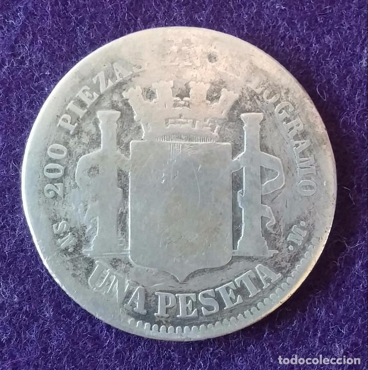 Monedas de España: 1 UNA PESETA DE PLATA. 1869. ESPAÑA. RARA. GOBIERNO PROVISIONAL. - Foto 2 - 62276476