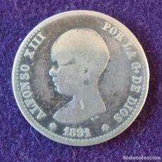 Monedas de España: 1 UNA PESETA DE PLATA. 1891. ALFONSO XIII. PELON. ESPAÑA.. Lote 62277984