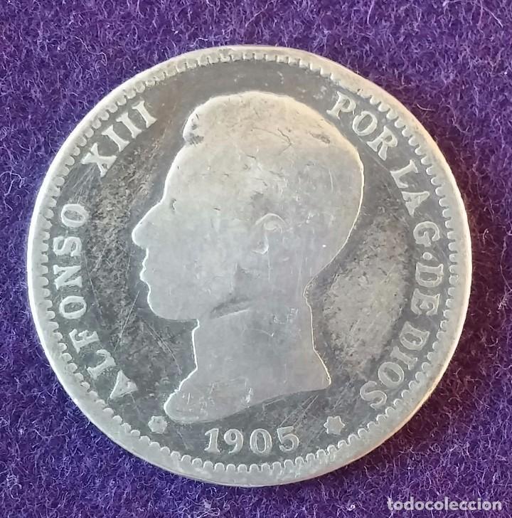 1 UNA PESETA DE PLATA. 1905. ALFONSO XIII. CADETE. ESCASA. ESPAÑA. (Numismática - España Modernas y Contemporáneas - De Isabel II (1.834) a Alfonso XIII (1.931))