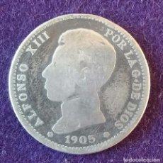 Monedas de España: 1 UNA PESETA DE PLATA. 1905. ALFONSO XIII. CADETE. ESCASA. ESPAÑA.. Lote 62279988
