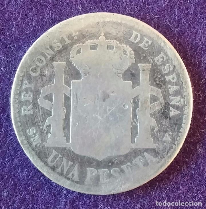 Monedas de España: 1 UNA PESETA DE PLATA. 1905. ALFONSO XIII. CADETE. ESCASA. ESPAÑA. - Foto 2 - 62279988