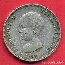Monedas de España: MONEDA 5 PESETAS ALFONSO XIII ,1891 , ESTRELLAS VISIBLES 18 91 , DURO DE PLATA , MBC+ , D1980. Lote 62614796