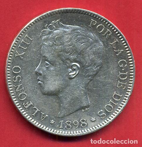 MONEDA 5 PESETAS ALFONSO XIII , 1898 , ESTRELLAS VISIBLES 18 98 , DURO DE PLATA , EBC , D1993 (Numismática - España Modernas y Contemporáneas - De Isabel II (1.834) a Alfonso XIII (1.931))