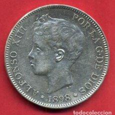 Monedas de España: MONEDA 5 PESETAS ALFONSO XIII , 1898 , ESTRELLAS VISIBLES 18 98 , DURO DE PLATA , EBC , D1993. Lote 62616840