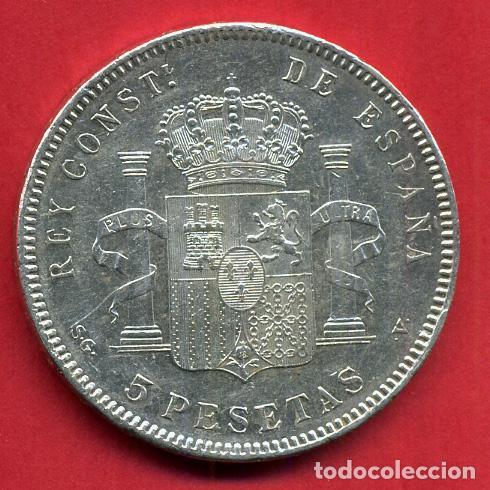 Monedas de España: MONEDA 5 PESETAS ALFONSO XIII , 1898 , ESTRELLAS VISIBLES 18 98 , DURO DE PLATA , EBC , D1993 - Foto 2 - 62616840