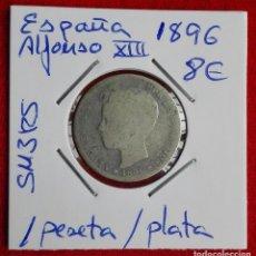 Monedas de España: ESPAÑA - 1 PESETA DE ALFONSO XIII AÑO 1896 - PLATA. Lote 65082763