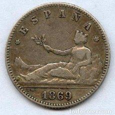 Monedas de España: EXCEPCIONAL. 1 PESETA DE PLATA AÑO 1869*18*69 ESPAÑA. Lote 66146791