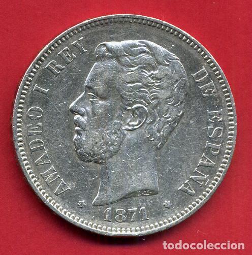 MONEDA 5 PESETAS AMADEO I, 1871 ESTRELLAS VISIBLES 18 71 , DURO PLATA, MBC++ , ORIGINAL, D2085 (Numismática - España Modernas y Contemporáneas - De Isabel II (1.834) a Alfonso XIII (1.931))