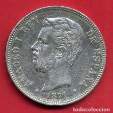 Monedas de España: MONEDA 5 PESETAS AMADEO I, 1871 ESTRELLAS VISIBLES 18 71 , DURO PLATA, MBC++ , ORIGINAL, D2085. Lote 66753030