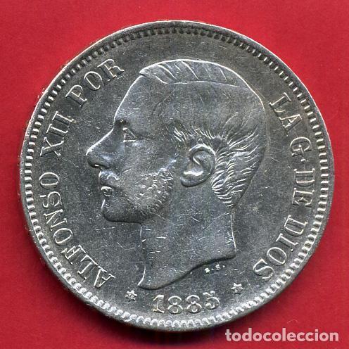 MONEDA 5 PESETAS ALFONSO XII , 1885 ESTRELLAS VISIBLES 18 85 , DURO PLATA, MBC++ , ORIGINAL, D2091 (Numismática - España Modernas y Contemporáneas - De Isabel II (1.834) a Alfonso XIII (1.931))