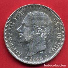 Monedas de España: MONEDA 5 PESETAS ALFONSO XII , 1885 ESTRELLAS VISIBLES 18 85 , DURO PLATA, MBC++ , ORIGINAL, D2091. Lote 66754322
