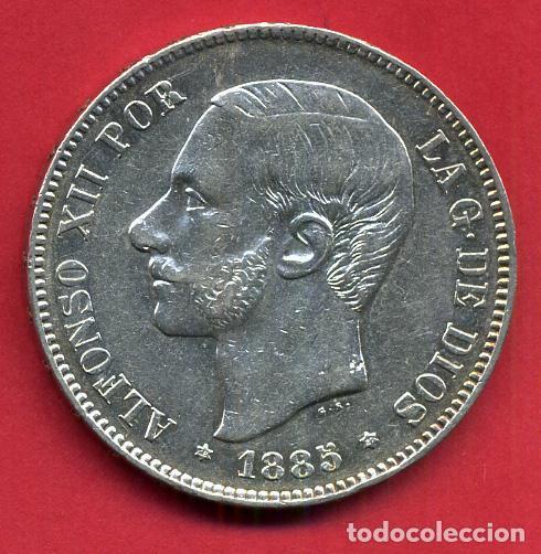 MONEDA 5 PESETAS ALFONSO XII , 1885 ESTRELLAS VISIBLES 18 87 , DURO PLATA, MBC++ , ORIGINAL, D2095 (Numismática - España Modernas y Contemporáneas - De Isabel II (1.834) a Alfonso XIII (1.931))