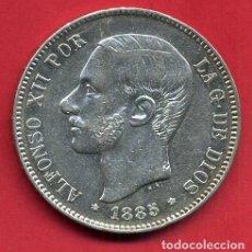 Monedas de España: MONEDA 5 PESETAS ALFONSO XII , 1885 ESTRELLAS VISIBLES 18 87 , DURO PLATA, MBC++ , ORIGINAL, D2095. Lote 66754962