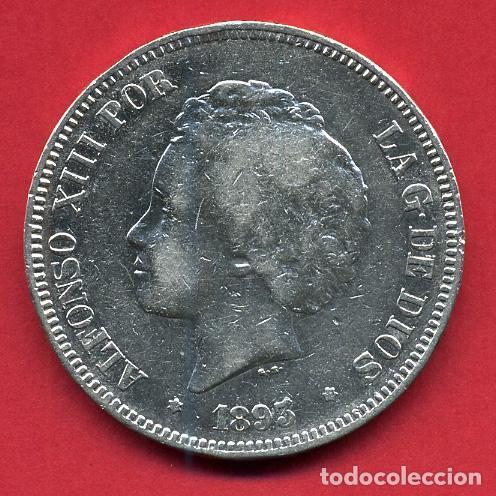 MONEDA 5 PESETAS ALFONSO XIII , 1893 PGV ESTRELLAS NO VISIBLES , DURO PLATA, MBC , ORIGINAL, D2100 (Numismática - España Modernas y Contemporáneas - De Isabel II (1.834) a Alfonso XIII (1.931))