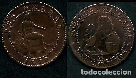 ESPAÑA 2 CENTIMOS AÑO 1870 OM ( TIO SENTADO - GOBIERNO PROVISIONAL - LEON ) Nº13 (Numismática - España Modernas y Contemporáneas - De Isabel II (1.834) a Alfonso XIII (1.931))