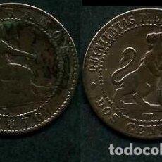 Monedas de España: ESPAÑA 2 CENTIMOS AÑO 1870 OM ( TIO SENTADO - GOBIERNO PROVISIONAL - LEON ) Nº14. Lote 67584193