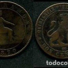 Monedas de España: ESPAÑA 2 CENTIMOS AÑO 1870 OM ( TIO SENTADO - GOBIERNO PROVISIONAL - LEON ) Nº22. Lote 67592141