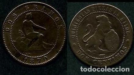 ESPAÑA 2 CENTIMOS AÑO 1870 OM ( TIO SENTADO - GOBIERNO PROVISIONAL - LEON ) Nº27 (Numismática - España Modernas y Contemporáneas - De Isabel II (1.834) a Alfonso XIII (1.931))