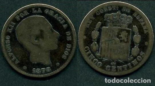 ESPAÑA 5 CENTIMOS AÑO 1878 OM ( ALFONSO XII - REY DE ESPAÑA DE 1874 A 1885 ) Nº3 (Numismática - España Modernas y Contemporáneas - De Isabel II (1.834) a Alfonso XIII (1.931))
