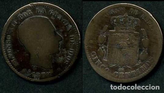 ESPAÑA 5 CENTIMOS AÑO 1878 OM ( ALFONSO XII - REY DE ESPAÑA DE 1874 A 1885 ) Nº9 (Numismática - España Modernas y Contemporáneas - De Isabel II (1.834) a Alfonso XIII (1.931))