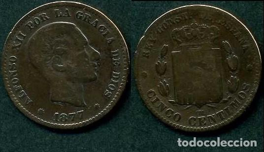 ESPAÑA 5 CENTIMOS AÑO 1877 OM ( ALFONSO XII - REY DE ESPAÑA DE 1874 A 1885 ) Nº1 (Numismática - España Modernas y Contemporáneas - De Isabel II (1.834) a Alfonso XIII (1.931))