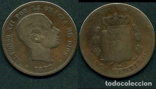 ESPAÑA 5 CENTIMOS AÑO 1877 OM ( ALFONSO XII - REY DE ESPAÑA DE 1874 A 1885 ) Nº3 (Numismática - España Modernas y Contemporáneas - De Isabel II (1.834) a Alfonso XIII (1.931))