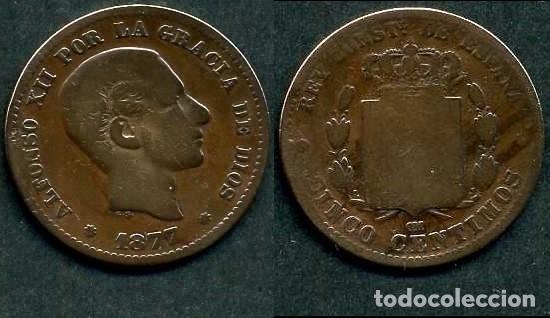 ESPAÑA 5 CENTIMOS AÑO 1877 OM ( ALFONSO XII - REY DE ESPAÑA DE 1874 A 1885 ) Nº4 (Numismática - España Modernas y Contemporáneas - De Isabel II (1.834) a Alfonso XIII (1.931))