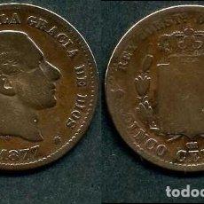 Monedas de España: ESPAÑA 5 CENTIMOS AÑO 1877 OM ( ALFONSO XII - REY DE ESPAÑA DE 1874 A 1885 ) Nº4. Lote 67746521