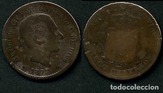 ESPAÑA 5 CENTIMOS AÑO 1877 OM ( ALFONSO XII - REY DE ESPAÑA DE 1874 A 1885 ) Nº10 (Numismática - España Modernas y Contemporáneas - De Isabel II (1.834) a Alfonso XIII (1.931))