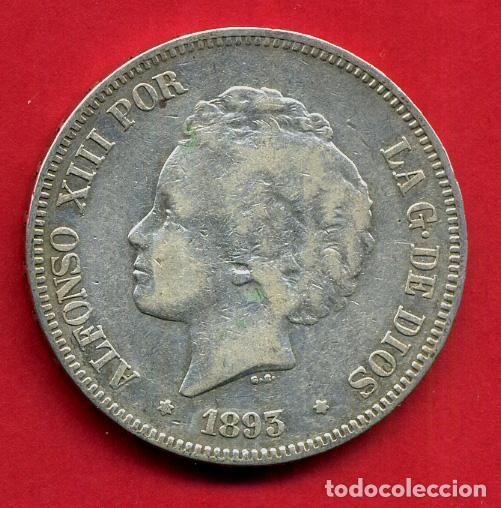 MONEDA 5 PESETAS ALFONSO XIII , 1893 PGV ,ESTRELLAS VISIBLES 18 ,DURO PLATA , MBC+, ORIGINAL , D2066 (Numismática - España Modernas y Contemporáneas - De Isabel II (1.834) a Alfonso XIII (1.931))